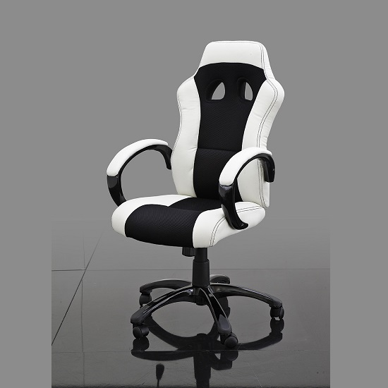 Loutaz Home Office Chair In Black And White Faux Leather_1
