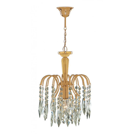 Waterfall 1 Lamp Gold Finish Pendant With Crystal Trimmings