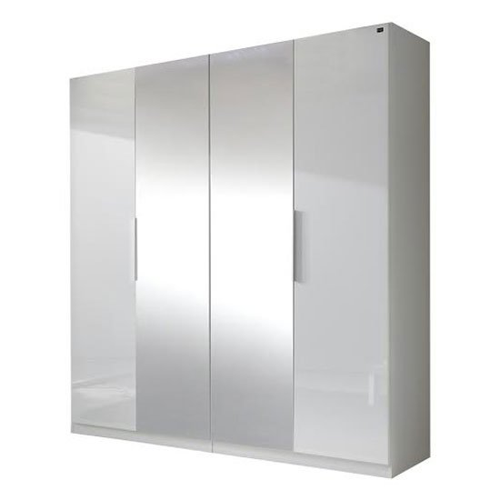 Read more about Add on d white wardrobe in gloss fronts with 4 doors 2 mirrors