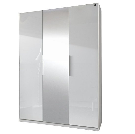 View Add on d white gloss wardrobe with 2 doors 1 mirrors