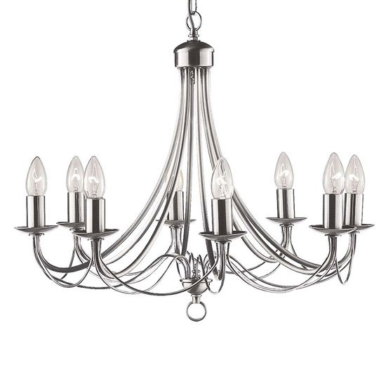 Nova Satin Silver 8 Lamp Ceiling Light