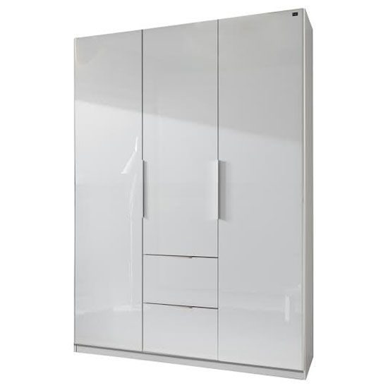Add On D White Gloss Wardrobe With 3 Door 2 Drawer