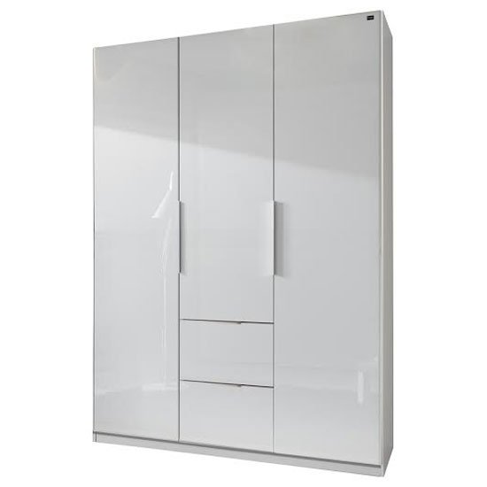 Read more about Add on d white gloss wardrobe with 3 door 2 drawer