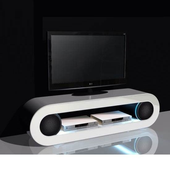 Phoenix TV Stand In High Gloss White With Speakers And USB Port