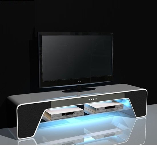 Buffalo TV Stand In High Gloss White With Speakers And USB Port