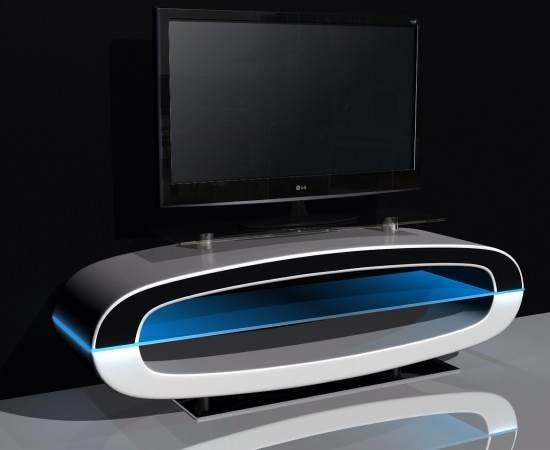 MICHIGAN TV Stand High Gloss White With Speakers And Usb Port