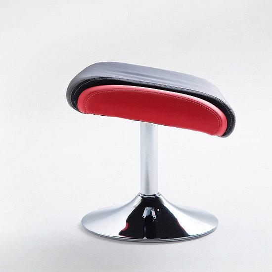 Liam Reclining Chair In Black And Red Faux Leather With Stool_11