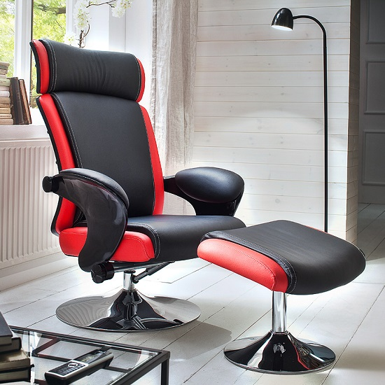 Liam Reclining Chair In Black And Red Faux Leather With Stool
