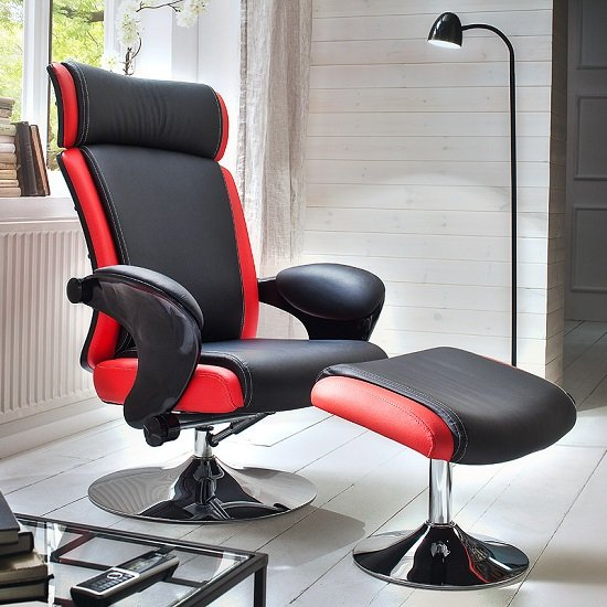 Liam Reclining Chair In Black And Red Faux Leather With Stool_1