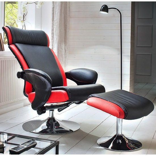 Liam Reclining Chair In Black And Red Faux Leather With Stool_2