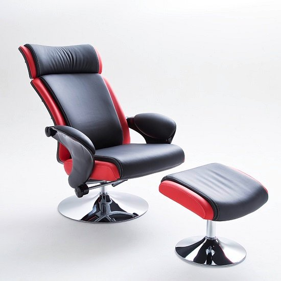 Liam Reclining Chair In Black And Red Faux Leather With Stool_4