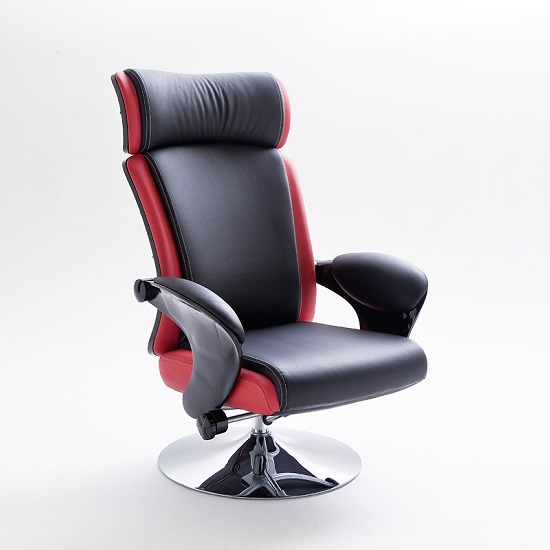 Liam Reclining Chair In Black And Red Faux Leather With Stool_6