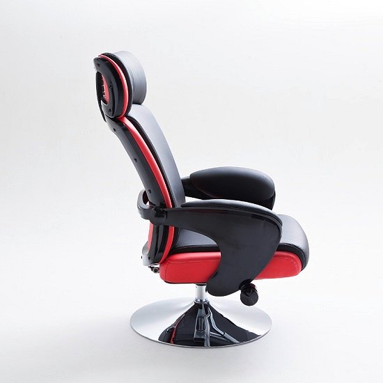 Liam Reclining Chair In Black And Red Faux Leather With Stool_8