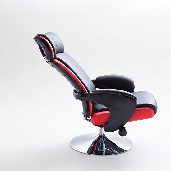 Liam Reclining Chair In Black And Red Faux Leather With Stool_9