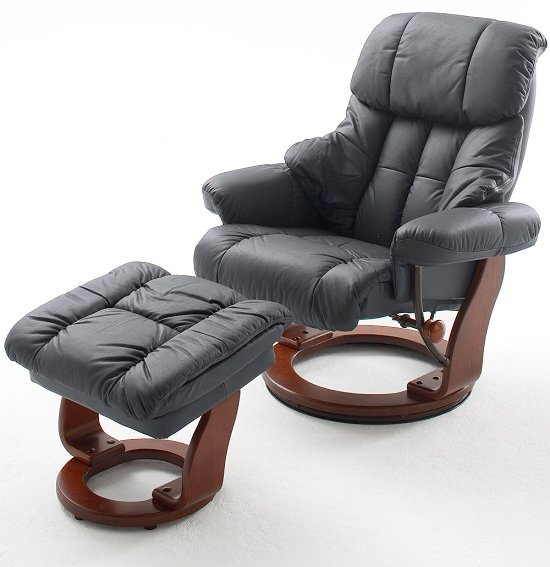 Calgary Swivel Relaxer Chair Leather With Foot Stool In Black