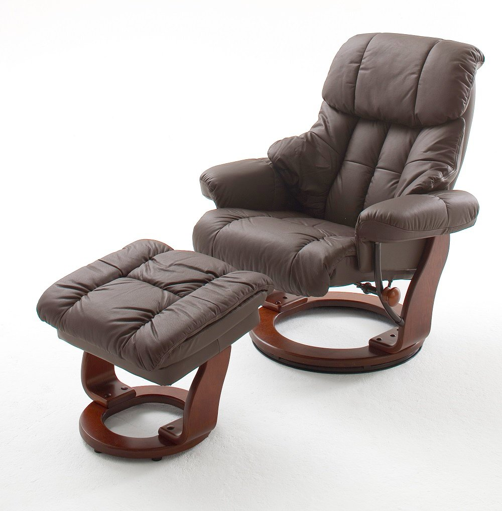 Calgary Swivel Relaxer Chair Leather With Foot Stool In Brown