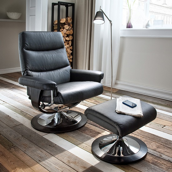 Graham Reclining Chair With Foot Stool In Black With Chrome Base
