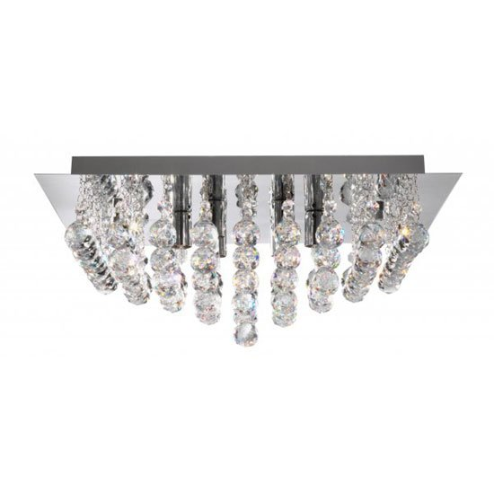 Hanna 8 Lamp Chrome Square Ceiling Light With Crystal Balls