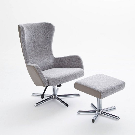 Davis Relaxing Chair With Foot Stool In Grey Beige Fabric_3