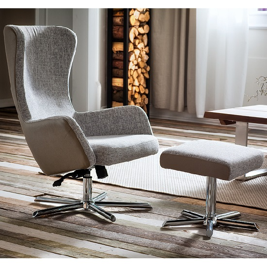 Davis Relaxing Chair With Foot Stool In Grey Beige Fabric_1