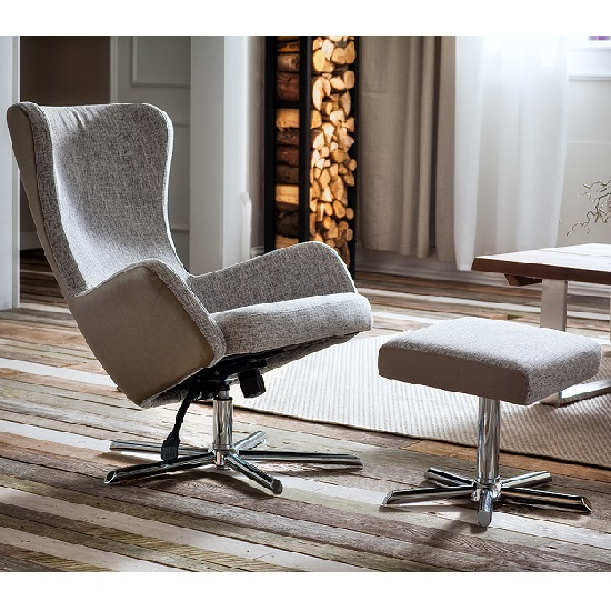 Davis Relaxing Chair With Foot Stool In Grey Beige Fabric_2