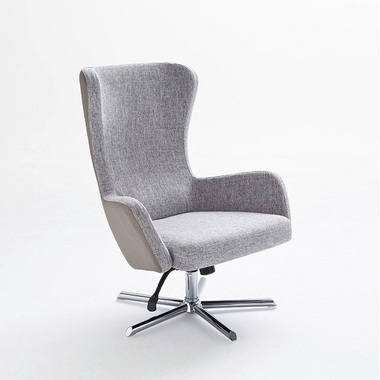 Davis Relaxing Chair With Foot Stool In Grey Beige Fabric_5