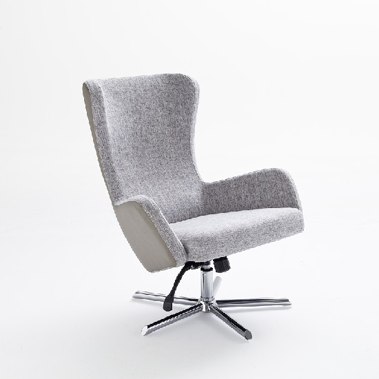 Davis Relaxing Chair With Foot Stool In Grey Beige Fabric_6