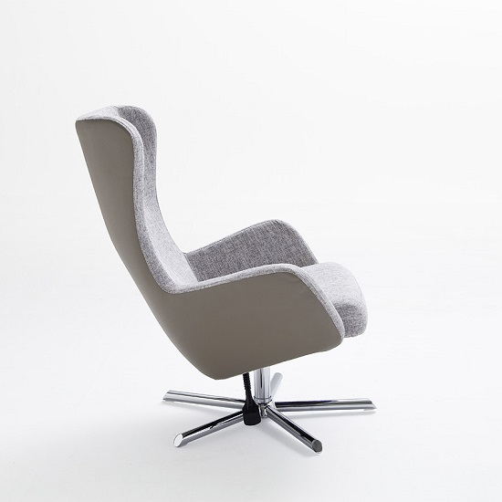 Davis Relaxing Chair With Foot Stool In Grey Beige Fabric_8
