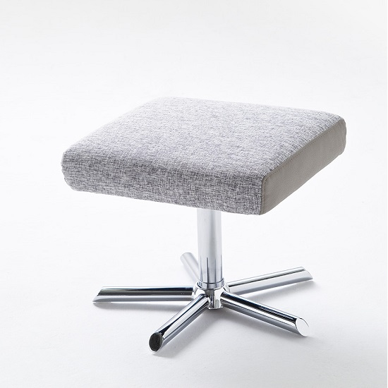 Davis Relaxing Chair With Foot Stool In Grey Beige Fabric_9