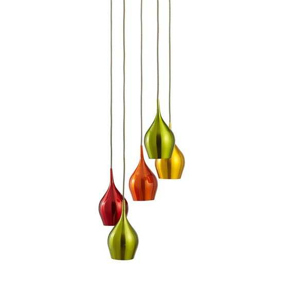 Vibrant 5 Lamp Ceiling Pendant With Multi Drop Coloured Shades