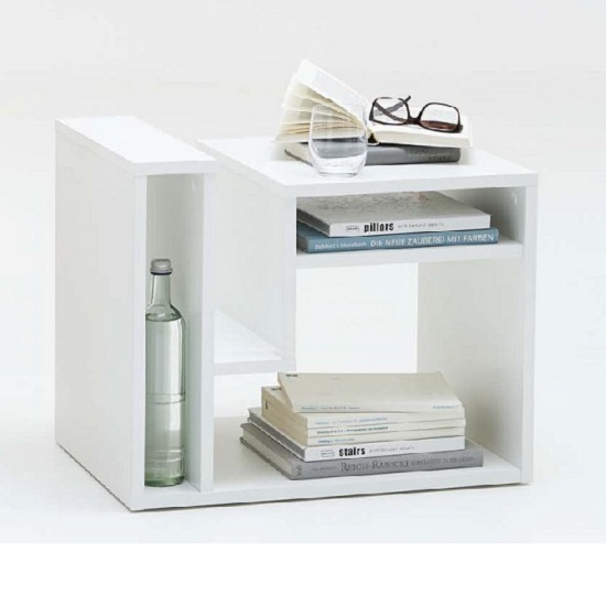 Fritz Side Table In White With Storage