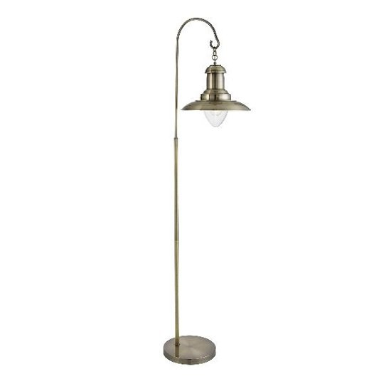 Fisherman Antique Brass Floor Lamp In Glass Shade