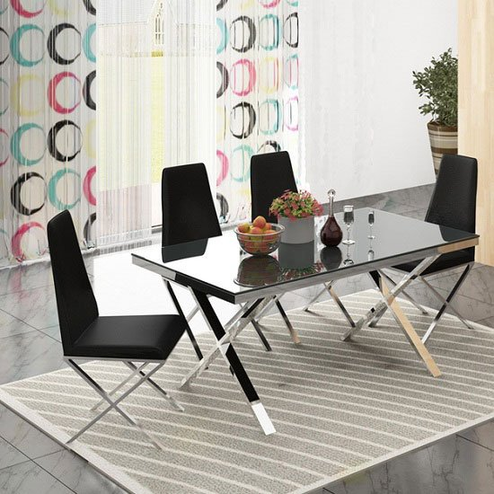 Zanti Black Glass Top Dining Table And 4 Dining Chairs