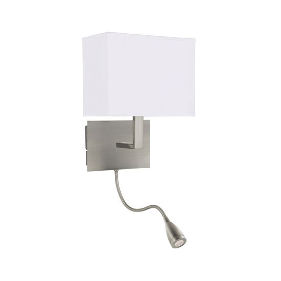 Dual Arm Satin Silver Wall Lamp With Oblong Fabric Shade