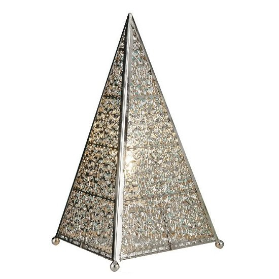 Moroccan Fretwork Shiny Nickel Table Lamp