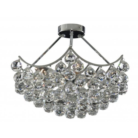 Sassari 5 Lamp Chrome Ceiling Light With Crystal Faceted Spheres