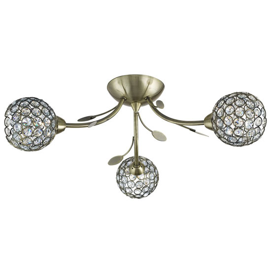 Image of Bellis II 3 Lamp Antique Brass Ceiling Light With Glass Buttons