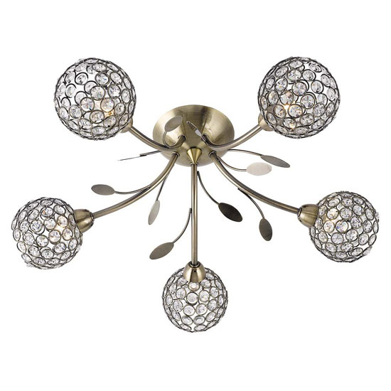 Image of Bellis II 5 Lamp Antique Brass Ceiling Light With Glass Buttons