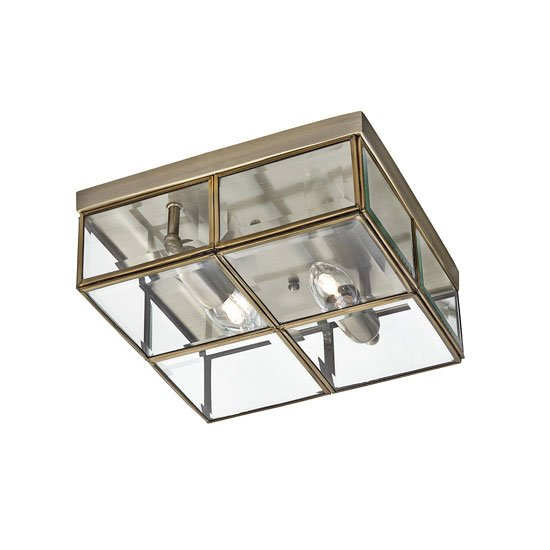 Flush Box Antique Brass Ceiling Light With Clear Bevelled Glass