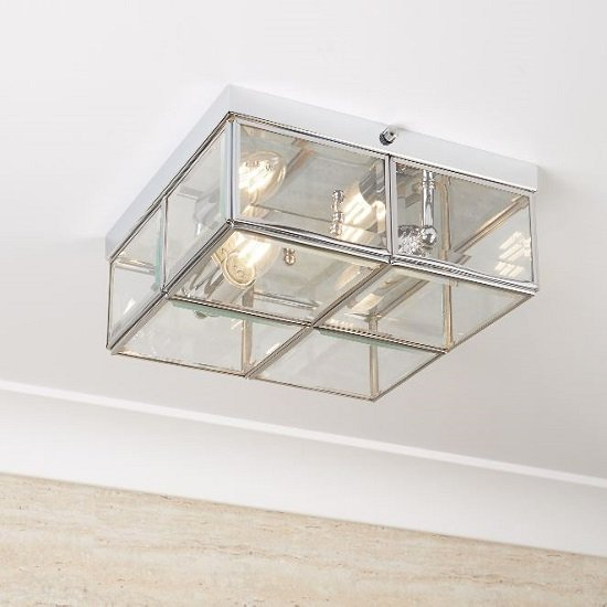 Flush Box Chrome Ceiling Light With Clear Bevelled Glass_1