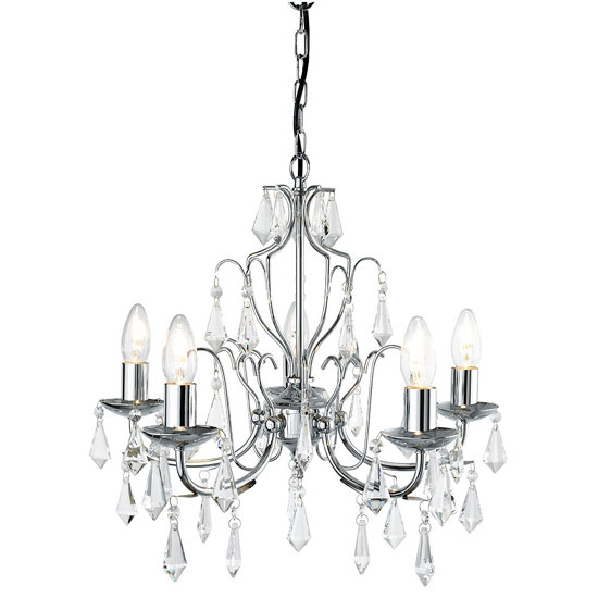 Martina Five Lamp Chrome Ceiling Light With Crystal Glass Trimmi
