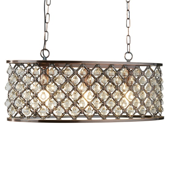 Marquise Antique Copper Oval Bar Light With Glass Drop Trim