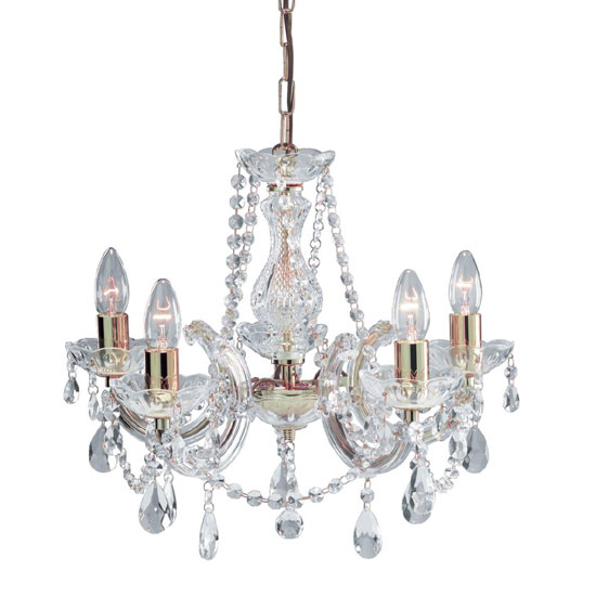 Marie Therese Chandelier Ceiling 5 Lights With Octagonal Droplet