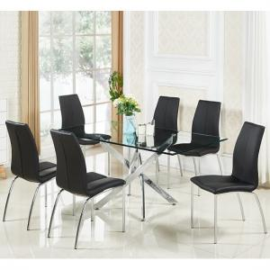 glass dining table and 6 chairs sets UK