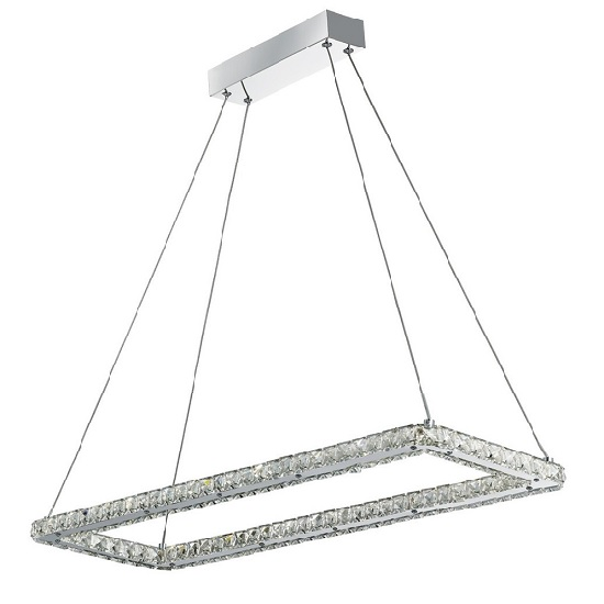 Belton Ceiling Pendant Rectangle Frame In Chrome And Crystal