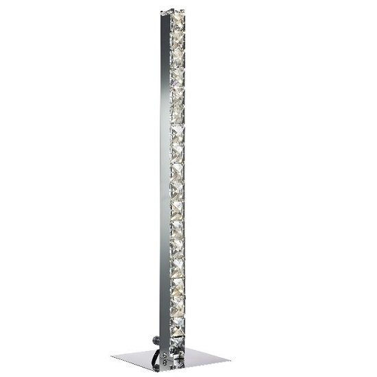 Clover Led Chrome Column Table Lamp With Crystal Trim