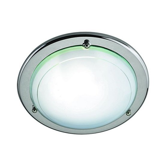 Silver Flush Light With White And Clear Glass Diffuser_1