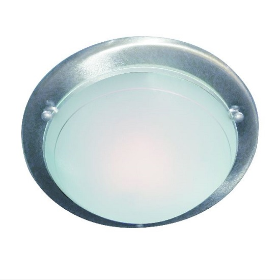 Satin Silver Flush Light With White And Clear Glass Diffuser