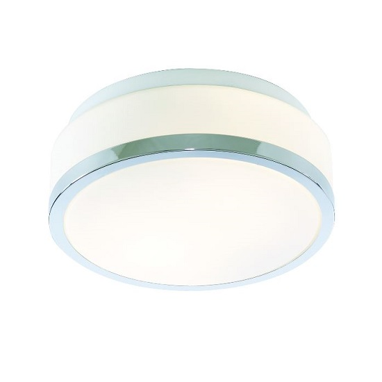 Discs Bathroom Ceiling Lamp Flush Fitting With Opal Glass Shade