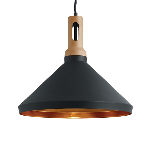 Cone Matt Black Pendant Lamp With Adjustable Ceiling Height